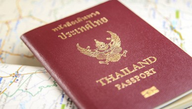 Thailand passport with map